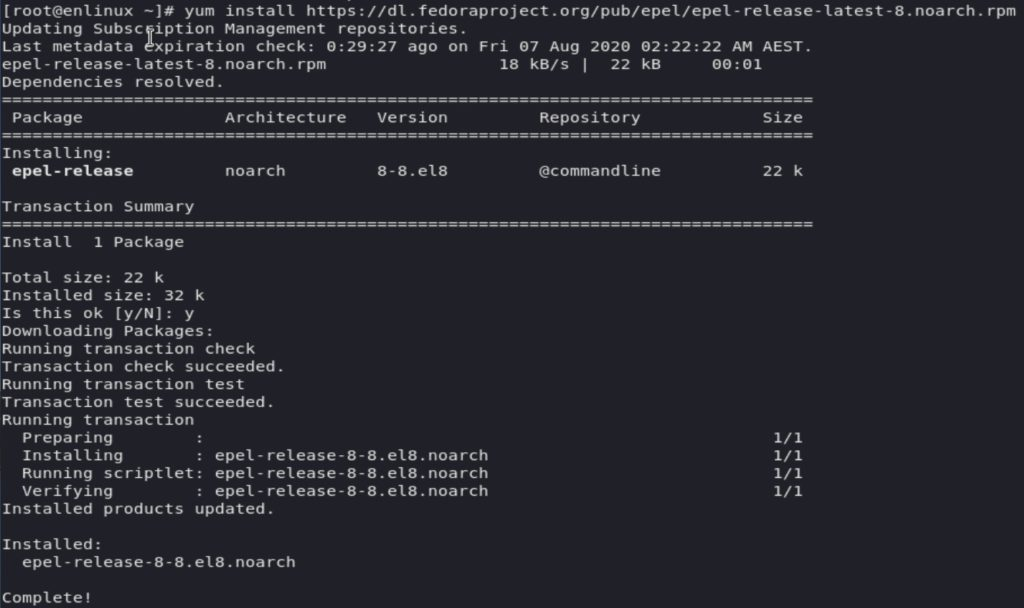 Install EPEL Repo on Red Hat Enterprise 8